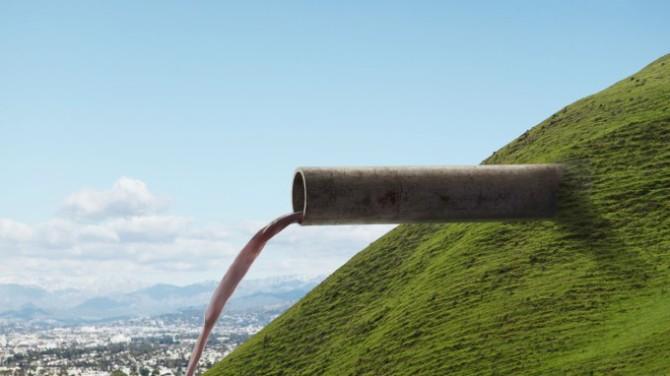 Pipe Emerging from Hillside